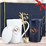 KEDRIAN Mr and Mrs Mug Set, Elegant Couple Gifts, Best Wedding Gifts for Couple, Mr and Mrs Gifts, Anniversary Gift for Couple, Engagement Gifts for Couples, Perfect Couples Gifts for Newlyweds