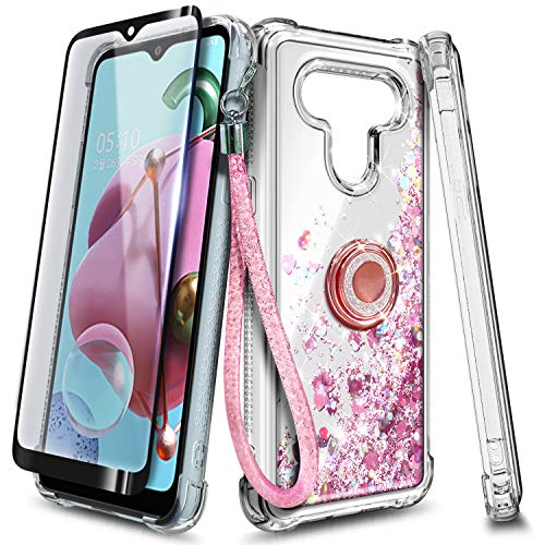 NGB Case for LG Stylo 6 with Tempered Glass Screen Protector (Full Coverage), Ring Holder, Girls Women Liquid Bling Sparkle Fashion Flowing Floating Glitter Quicksand TPU Clear Cute Case -Rose Gold