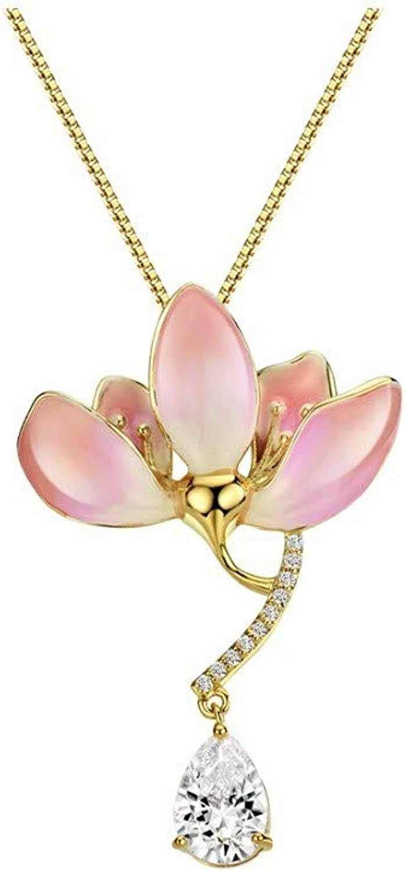 QMM necklace Pendant Fashion Cubic Zirconia Enamel Pink Flower Copper Long Necklaces & Pendants for Women Gifts Jewelry