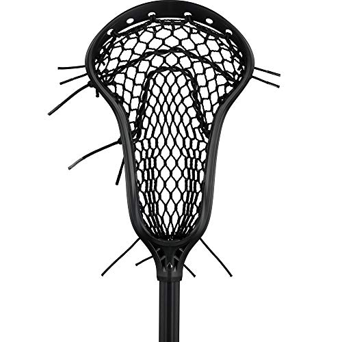StringKing Women's Complete 2 Pro Midfield Lacrosse Stick with Metal 3 Pro Shaft and Women's Type 4 Mesh (Black/Black)