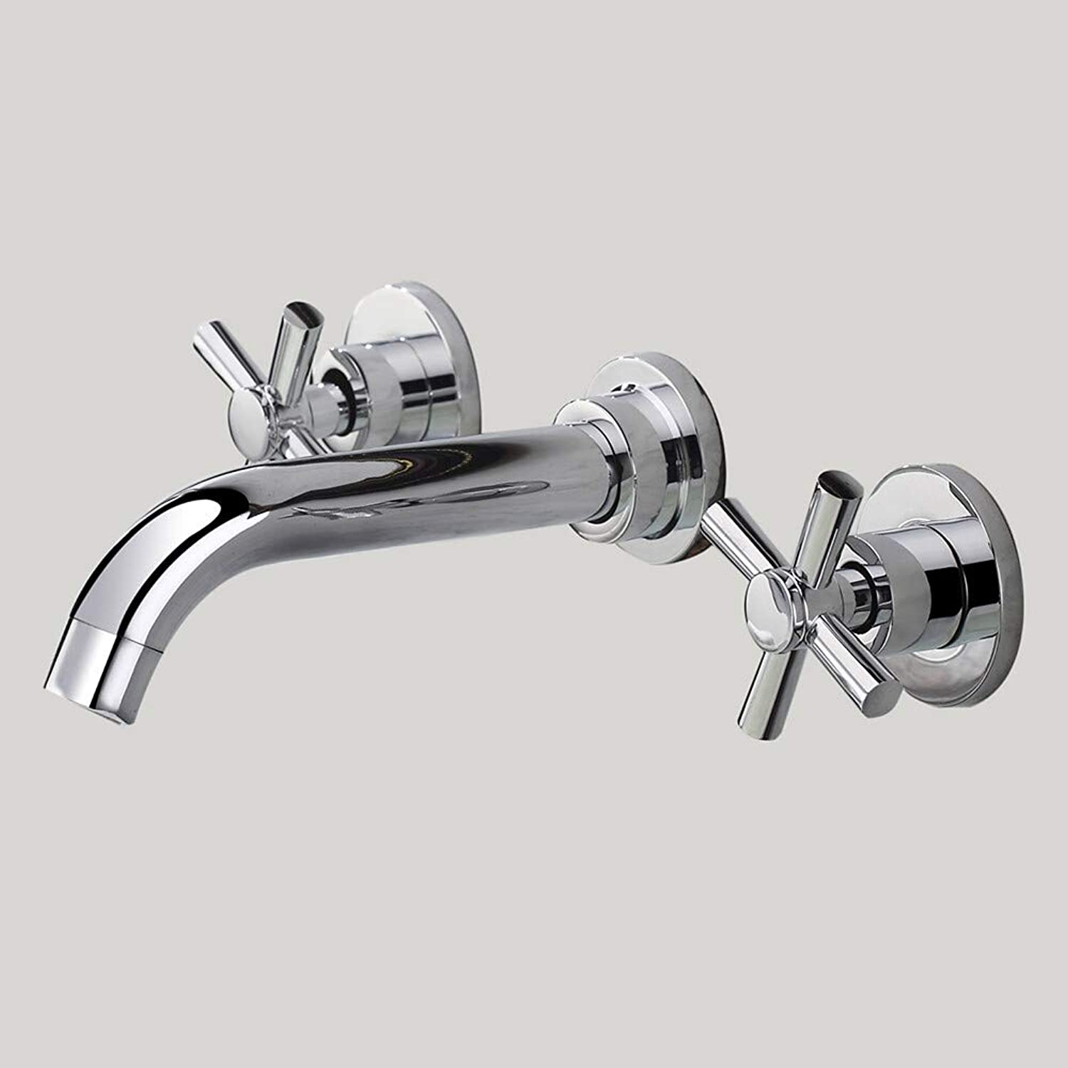 Fire wolf Bathroom faucet:Contemporary Wall Mounted Widespread Wall Mount with Brass Valve Two Handles Three Holes for Chrome, Bathroom Sink Faucet,1