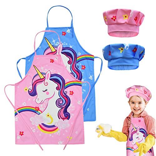 Liwein Niños Delantal y Gorro de Cocinero, 2 Piezas Delantal de Cocina Infantil Delantal de Unicornio Ajustable Delantal de Chef y Sombreros para Cocinar Hornear Pintura Artesanía