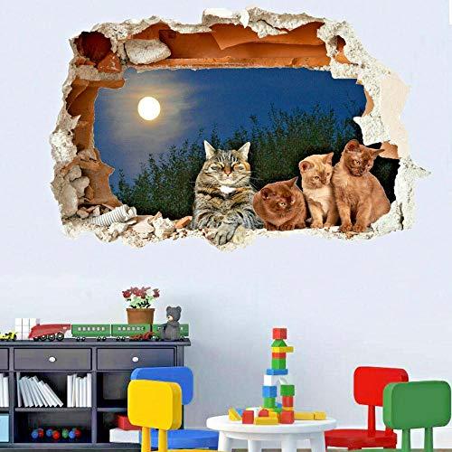 FHSFFS Pegatinas de pared Super lindo gato gatito etiqueta de la pared transferencia de calcomanía arte mural impresión cartel