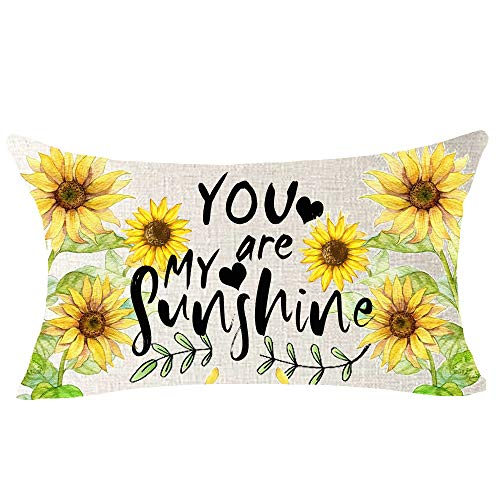 NIDITW Sunflower Pattern Inspirational Quotes You are My Sunshine Cotton Burlap Decorative Rectangle Throw Lumbar Waist Pillow Case Cushion Cover for Couch Living Room 12X20 inches (CC)