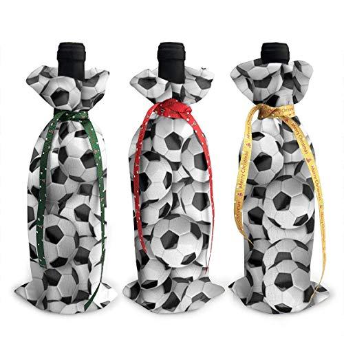 Bolas de fútbol 3 bolsas de cubierta de botella de vino con cordones para cena, degustación de vino, decoración de mesa
