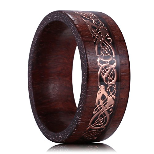 King Will Nature 8mm Sandalwood Inlay Rose Gold Celtic Wedding Engagement Ring Band Comfort fit