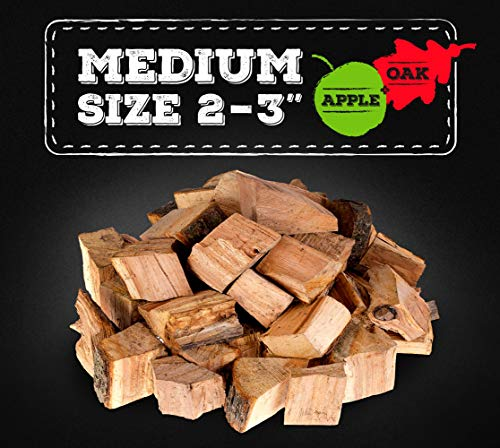 Zorestar Oak Apple Smoker Wood Chunks - BBQ Cooking Chunks for All Smokers - 20lb of Natural Wood for Smoking