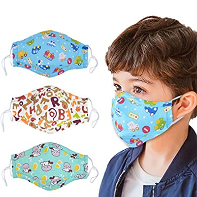 Dust Mask for Kids,Aniwon 3 Pcs PM2.5 Kids Mouth Face Mask with 6 Pcs Activated Carbon Filter Insert,Washable Cute Cotton Mouth Mask with Adjustable Straps (Blue)