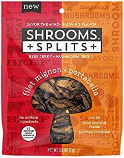 Shrooms Splits: Mushroom and Meat Jerky Mix | Superfood, Low Fat, Dairy Free Snack | Filet Mignon and Portabella