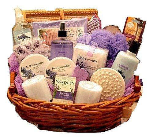 pamper gift baskets Exquisite Lavender Spa Gift Basket for Her