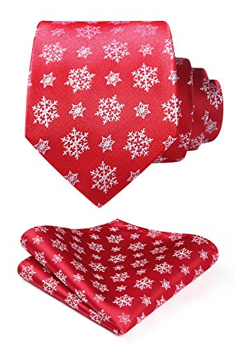 HISDERN Men's Christmas Tie Snowflake Woven Party...
