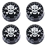 mxuteuk 4pcs Black with White Skull Electric Guitar Bass Top Hat Knobs Speed Volume Tone AMP Effect Pedal Control Knobs KNOB-S12