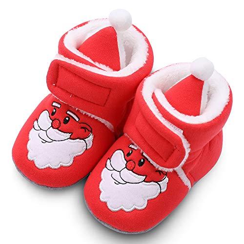 zilkyoo Infant Baby Boys Girls Cozy Slipper Slip-on Soft Sole Newborn Booties Toddler First Walker Winter Warm Christmas Shoes
