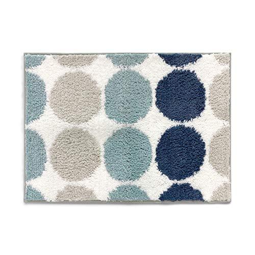 Sunlit 17'x24' Bathroom Rug, Non-Slip Absorbent Soft Shaggy Farmhouse Bath Mat, Floor Mat Dry Fast Machine Washable. Blue Teal Beige Polka Dot