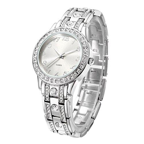 Reloj de cuarzo con dial de plata y...