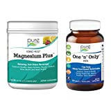 Pure Essence Labs Ionic Fizz Magnesium Plus + One N Only Men's Multivitamin Bundle   Sleep Aid + Anti Stress Supplement Powder - Raspberry Lemonade   One a Day Herbal Supplement   Two Month Supply