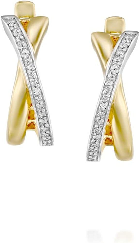 Diamond Semi Hoop Earrings - 14k Crossover Solid Gold Two Reservation Max 47% OFF Tone