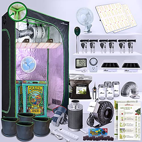 THEBUDGROWER Grow Kit 1200 Watt Full Spectrum LED Light, Indoor Greenhouse Everything Included for Indoor Plant Veg and Flower Growth: Everything Included