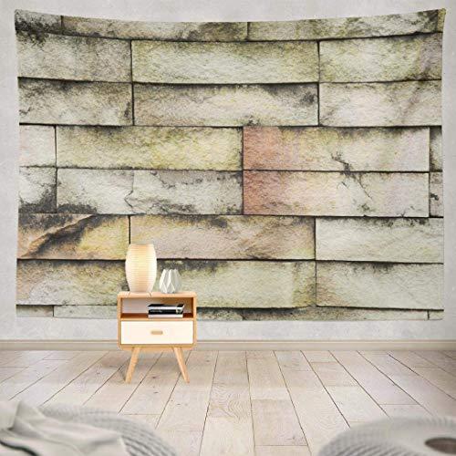 Duanrest Wandteppich,Retro zurückgefordertes Holz, Backstein abstrakte alte antike Architektur, Backstein Wandteppich für zu Hause 229x152cm