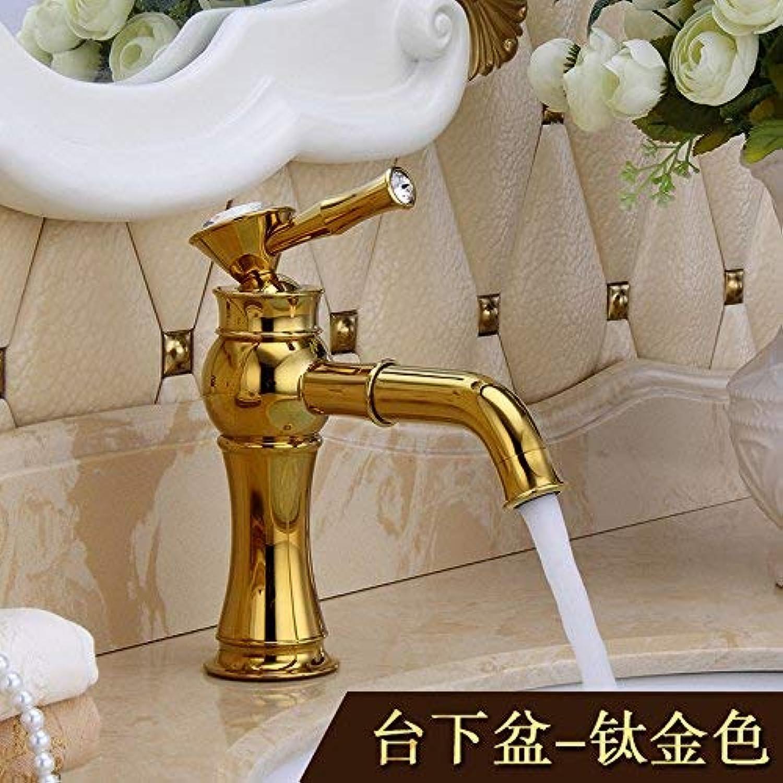 CFHJN Home Mischer-Wasserhahn kupferner europischer Retro- Art Becken-Goldenes drehendes heies und kaltes Erhhen