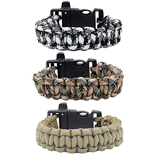 FROG SAC 3 Whistle Paracord Bracelets for Men, 550 lb Camo Parachute Cord Survival Friendship Bracelet for Boys, Camouflage Camping Accessories for Teens, Army Military Gear