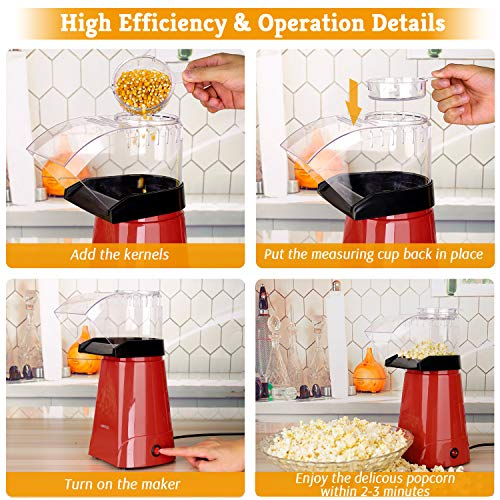 Product Image 6: HIRIFULL 1200W Hot Air Popcorn Poppers Machine, Home Electric Popcorn Maker with Measuring Cup, 3 Min Fast Popping, ETL Certified, BPA Free, No Oil, DIY Flavors, Great for Home Movie TV, Party(Red)