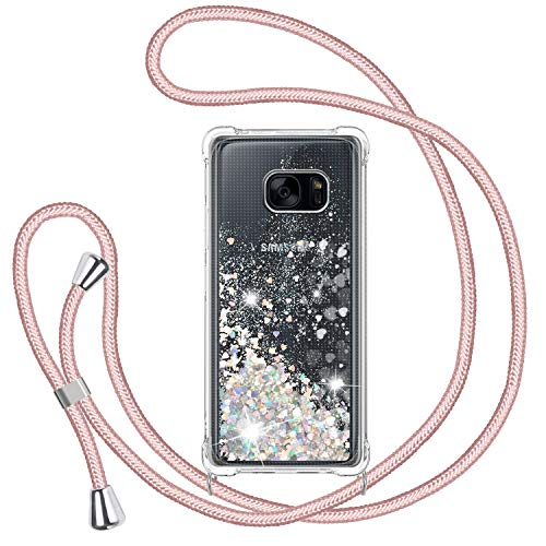 TUUT Funda Glitter Liquida con Cuerda para Samsung Galaxy S7, Glitter Cristal Suave Silicona TPU Bumper Protector Carcasa, Brillante Arena Movediza con Colgante Ajustable Cordón Case -Oro Rosa