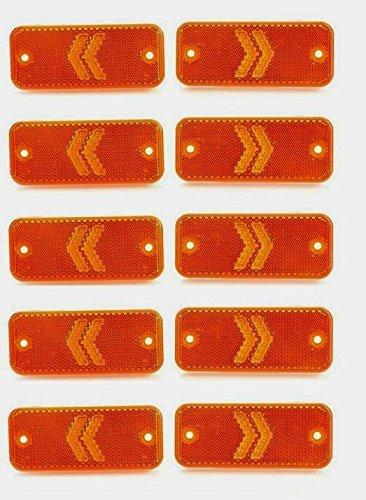 Lot de 10 flèches 12 V 24 V Orange Ambre LED Feux d'encombrement latéraux Flèche Réflecteur intégré Camion Benne Caravane Châssis Remorque Camper Bus IP68