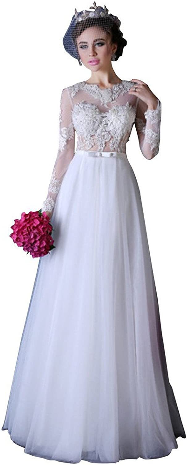 BessWedding Women's Long Lace Sleeves Aline Sexy with Sash Bridal Wedding Gowns