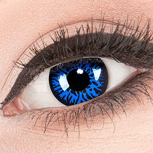 Funnylens 1 Paar farbige Crazy Fun blue demon Jahres Kontaktlinsen. perfekt zu Halloween, Karneval, Fasching oder Fasnacht mit gratis Kontaktlinsenbehälter ohne Stärke!