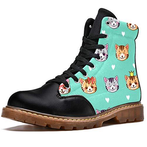 NewLL Botas de combate para mujer de ocho ojos con cordones para gatos de dibujos animados de gatitos coronas con patrón de corazón para mujer, color, talla 38.5 EU