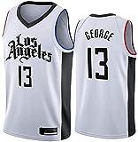 Ropa Jerseys de baloncesto para hombres, LOS ANGELES CLIPPORES # 13 PAUL GEORGE NBA Verano Chalecos casuales sueltos y transpirables Uniformes de baloncesto sin mangas Camiseta deportiva Tops, Blanco,