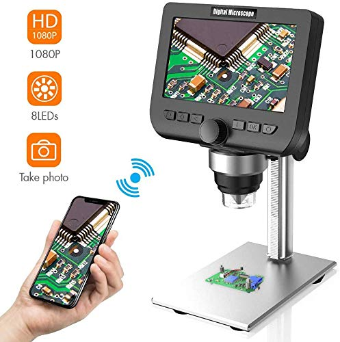 LCD Digital Microscope, YINAMA 4.3 Inch 1080P 2 Megapixels 1000X Magnification Zoom Wireless USB Stereo Microscope Camera, Compatible with iPhone Android, iPad MAC Windows