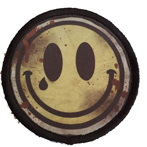 3' Distressed Bloody Smiley Face Morale Patch Funny Tactical Military. Hook Made in The USA Perfect for Your Rucksack, Molle Gear, Operator hat or Cap! Redheadedtshirts