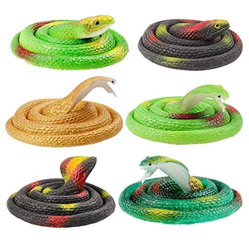 STOBOK Serpenti di gomma realistici giochi di serpenti artificiali per giardino e scherzo di halloween, confezione da 6 (colore casuale)