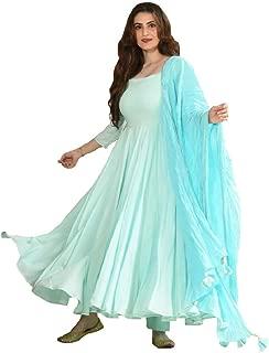 Monika Silk Mill Women's Light Blue Cotton Silk Semi Stitched Long Anarkali Salwar Suit with Tassel Dupatta