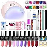 Chalkalon Polygel Uñas Kit, 36W UV/LED Lámpara, 10 Colores Kit de uñas de Gel Semipermanentes, Extensión de Uñas Kit, Base y Top Coat