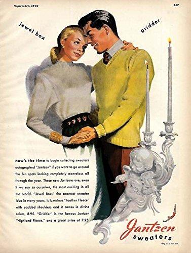 Jantzen Sweaters for women & men ad 1946 Pete Hawley pin-up art