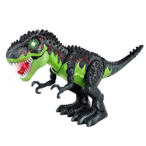 FiGoal Walking Dinosaur with LED Light and Sound, Realistic Tyrannosaurus T-Rex Dinosaur Toy with Walking Motion and Swinging Tail Action for Birthday Valentine's Day Gift for Kids and Toddlers