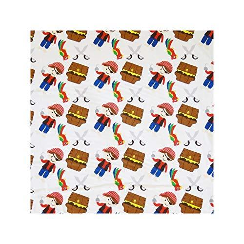 Tela de algodón 100% de lana de color blanco de 48 cm x 55 cm, diseño de piratas y loros de la isla del tesoro