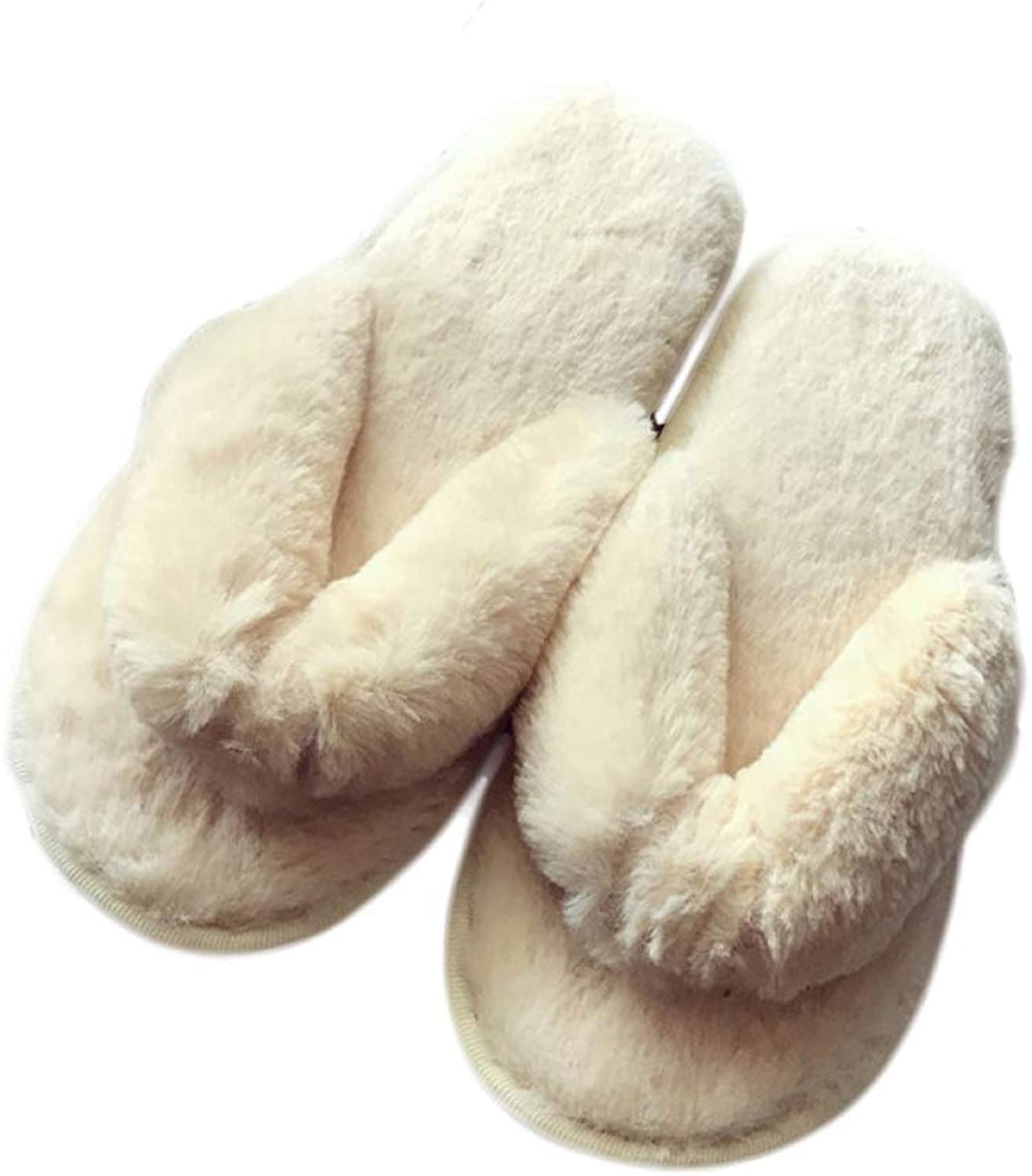 T-JULY Women Plush Flip Flops Cute Fluffy Fur Slides Winter Indoor Floor Flat Soft Home Slippers Female Flock Warm shoes