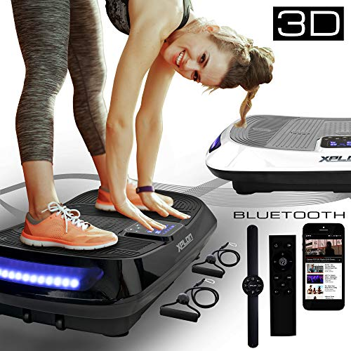 XPLON Vibrationsplatte 3D VX5 Vibration Platte Leistungsstark mit 2 leisen AC Motoren Curved Design Trainingsbänder Fernbedienung Bluetooth Musik LED belastbar 150kg schwarz