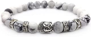 KOKOSHEL Buddha White Bead Bracelet for Men Women Tibetan Good Luck Silver Charm Mens Prayer Beads Bracelets Spiritual Meditation Healing Protection Diffuser Chakra