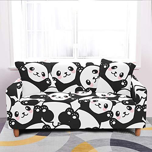 Funda De Sofá Elastica,Cubierta De Sofá Con Estampado Stretch Cartoon, Funda De Sillón De Tela De Poliéster Elástico Suave Patrón Panda Blanco Negro, Protector Universal De Muebles De Sofá Anti