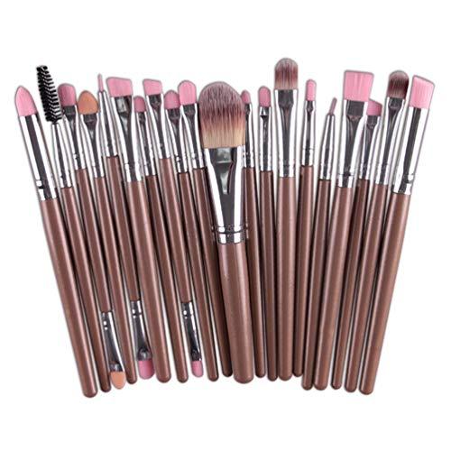 Meslio Lot de 20 pinceaux de maquillage professionnels à la mode - Cadeau de Saint-Valentin (café + argent)