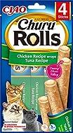INABA Churu Rolls - Cat treats for hand feeding - Delicious cat snacks with creamy filling - Chicken...