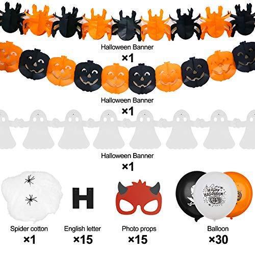 LISOPO Decorazioni Halloween Set 48 Pezzi Accessori Halloween Happy Halloween Ghirlanda,Bandierine con zucche Ragni,Oggetti di Scena per Foto,Set di Palloncini di Halloween…