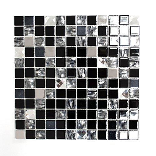 Mosaik Fliese selbstklebend Transluzent Edelstahl schwarz Glasmosaik Crystal Stahl schwarz Glas für WAND BAD WC KÜCHE FLIESENSPIEGEL THEKENVERKLEIDUNG BADEWANNENVERKLEIDUNG Mosaikmatte Mosaikplatte