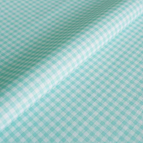 Hans-Textil-Shop Tela por metros Vichy a cuadros, 3 x 3 mm, turquesa, algodón, diseño a cuadros, estampado a cuadros