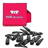 HAARallerliebst Haarspangen Klein (20 Stück | schwarz | 3,9 cm) inkl. Schachtel zur Aufbewahrung (Schachtelfarbe: pink)